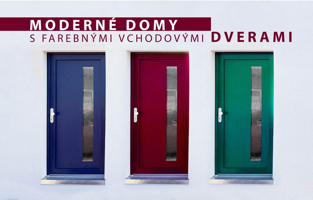 Moderné drevodomy s farebnými vchodovými dverami